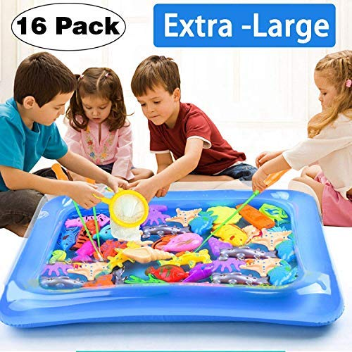 Ereon 16 Pack Bath Toy for Kids Magnetic Fishing Game Floating Fishing Game Squirts Toys Set with 2 Magnetic Rods 1 Fishing Net for Boys Girls Christmas Party Pool Bathtub -