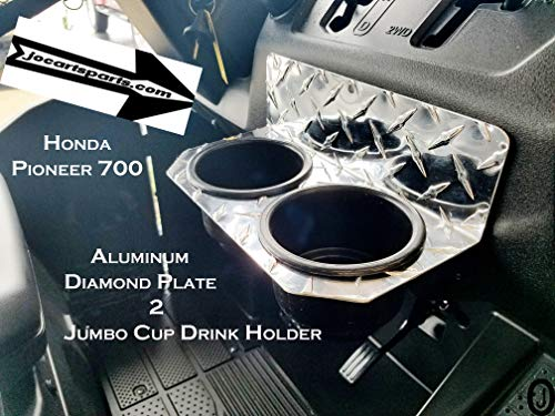 J & O Carts Parts Fits Honda Pioneer 700 Jumbo 2 Cup Drink Holder Aluminum Diamond Plate Holds a YETI (Holder Drink Aluminum)