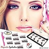 Piero Lorenzo Dual Magnetic False Eyelashes Fake Lashes with Free Tweezer - Reusable