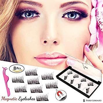 355796a7b4e Piero Lorenzo Dual Magnetic False Eyelashes Fake Lashes with Free Tweezer -  Reusable and Easy to