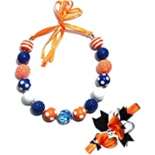 Cute Halloween Chunky Bubblegum Beads Necklace and Pumpkin Small Elf Hairbands Set for Kids Girls Women