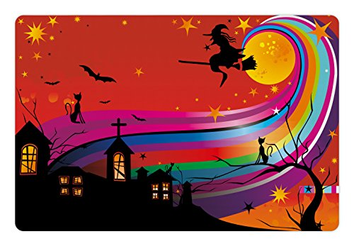 Lunarable Halloween Pet Mat for Food and Water, Witch Woman on Broomstick Bats Cat Stars Rainbow Moon Castle Abstract Colorful, Non-Slip Rubber Mat for Dogs and Cats, 18