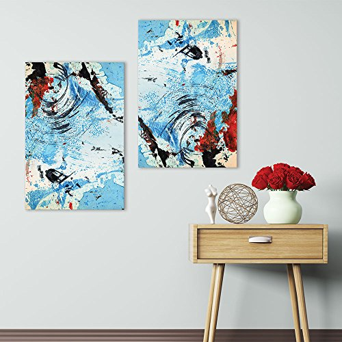 2 Panel Abstract Blue Color Splash x 2 Panels