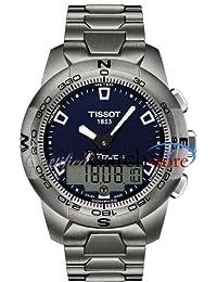 Tissot T0474204404100 Watch T-Touch II Mens - Blue Dial Titanium Case Quartz Movement
