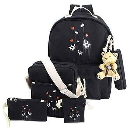 26ff4f76eda4 CNMXNBea Canvas Printing Giraffe Bag 5 Piece Set Backpack Women School Bags  For Teenage Girls
