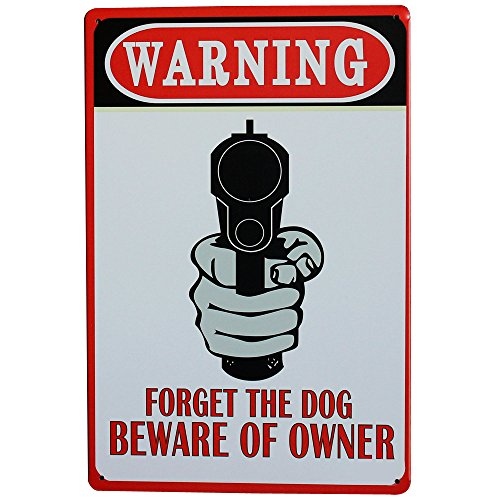 WARNING FORGET THE DOG BEWARE OF OWNER Metal Motto Sign Retro Tin decor Plate for bar house home wall painting