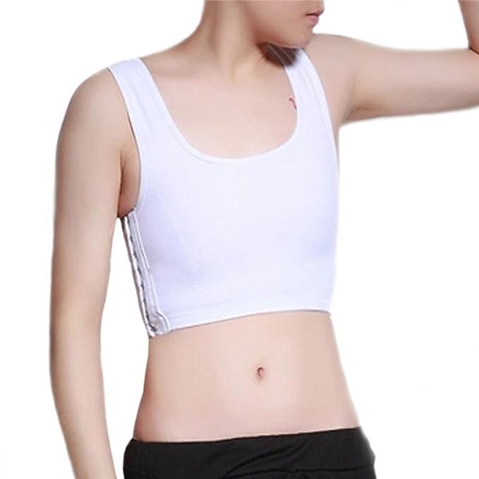 Baron Hong sujetador deportivo pecho elástico del chaleco remata para Tomboy Lesbianas (blanco, XS