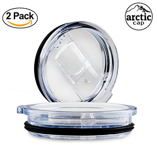 Arctic - 2 pack Universal 30 oz tumbler Lids with Sliding closure spill proof & Splash Resistant replacement perfect fit for RTIC, Yeti, Ozark trail rambler and other double wall steel cups