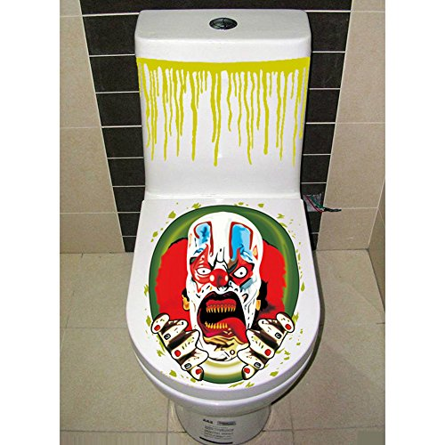 Zehui Halloween Gruesome Bathroom Toilet Seat Lid and Cistern Sticker Closestool Cover Party Decoration (Cute Clowns For Halloween)