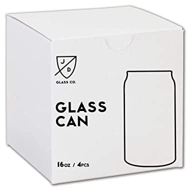 JD Glass Co. Glass Can 16 Ounce - 4 Pack
