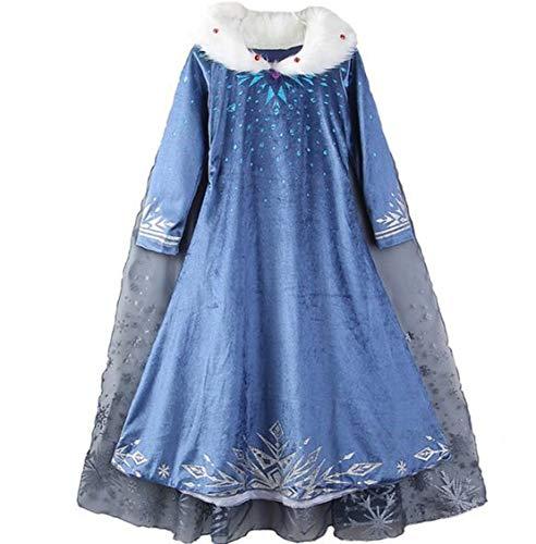 CX.Azul - Capa de Disfraz de Elsa Frozen para niñas, Azul, 100 cm