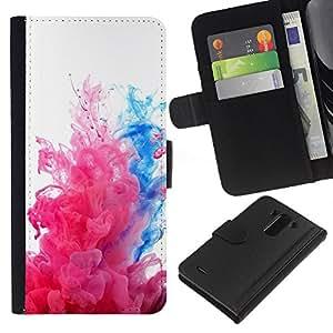 KLONGSHOP // Tirón de la caja Cartera de cuero con ranuras para tarjetas - Fluido Agua Dinámica Rosa Blanco - LG G3 //