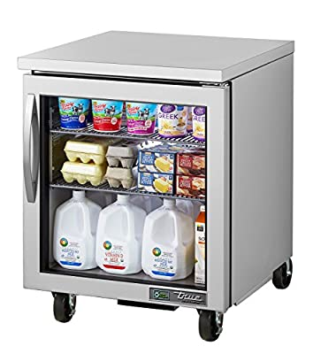 """True TUC-27G-HC~FGD01 Undercounted GLASS Door Refrigerator with Hydrocarbon Refrigerant, 29.75"""" Height, 30.125"""" width, 27.625"""" Length"""