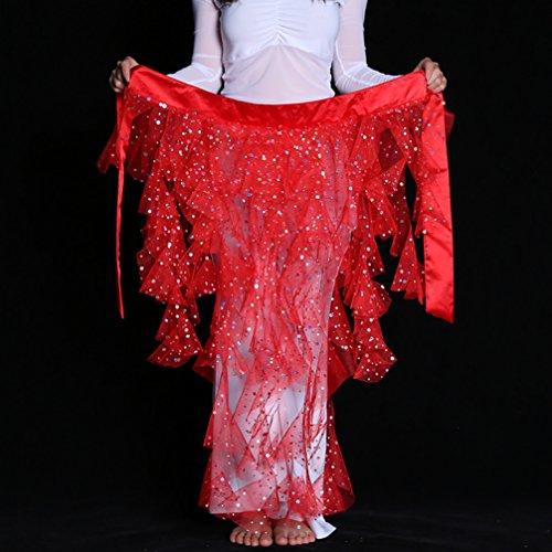DEMON BABY 2019 Foxtails Gauze Sequin Belly Dance Hip Scarf Wrap Belt Pole Dancing Skirt Best Gift(Red)