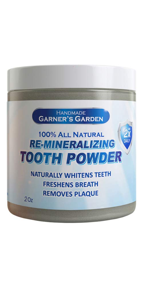 Garner's Garden Tooth Powder 2 oz, made with Bentonite and Kaolin Clay + Baking Soda to Deodorize and Adsorb Odor Causing Bacteria in your Mouth