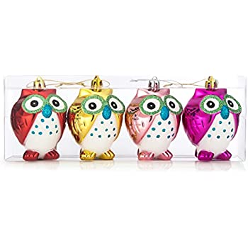 ipegtop shatterproof christmas owls ornaments 4ct 100mm4 colorful glitter hanging owl animal
