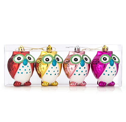 iPEGTOP Shatterproof Christmas Owls Ornaments, 4ct 100mm/4