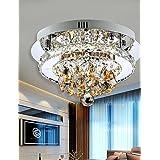 WINGG Generic Modern Led Ceiling Light Flush Mount White Light Amber Crystal Stainless Steel 90-265V for Living Room Bed Room Hallway , 90-240v #q2215