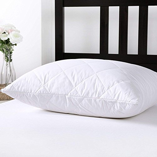 (Dreamaker Cotton Thick Quilted Pillow Covers w/ Australian Wool Padded Pillowcase Protector Zippered Set of 2 Queen Size  (20'' x 30''))