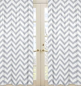 sweet jojo designs 2piece gray and white chevron window treatment zig zag panels
