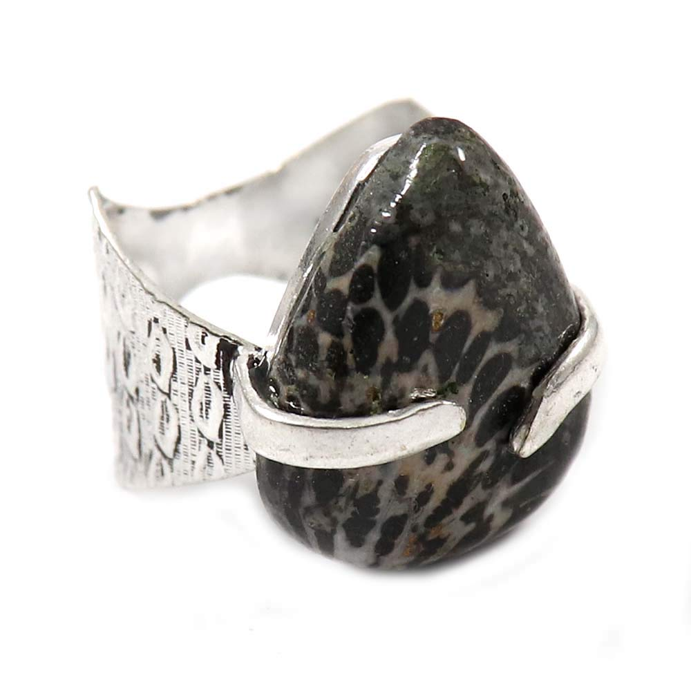 GoyalCrafts Silver Plated Jewelry US-5.5 Natural Stingray Fossil Coral Gemstone Ring GRF-34