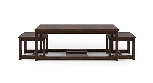 Urban Ladder Hevea Nested Coffee Table  Finish : Dark Walnut  Coffee Tables