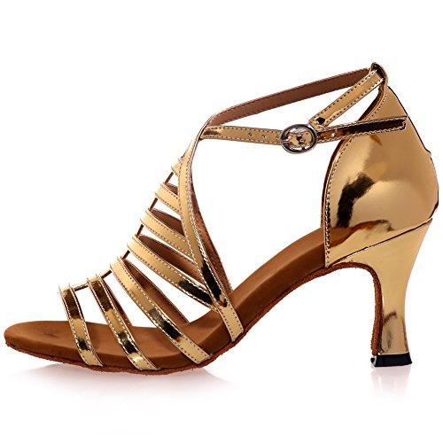 LOSLANDIFEN Womens Open Toe Ankle Strap Dance Shoes Breathable Salsa Tango Latin Sandals Gold-c