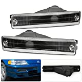 Honda CRX Replacement Front Bumper Turn Signal Lights Lamps Black Housing Clear Lens Upgrade Pair Set