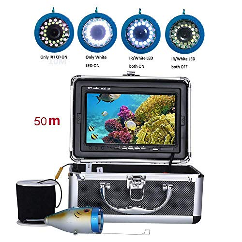 Z-DYQ HD Portable Fish Finder-7-Zoll-HD TF-Anzeige Kits 50M 1000TVL Fish Finder Unterwasserfischen-Kamera 15pcs WeißE LEDs + 15pcs Infrarotlampe