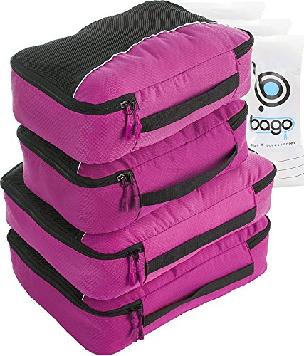 Pink Cube Case (4 Travel Packing Cubes For Luggage Organizer / Suitcase + 6 Toiletry and Laundry Organizers (2_Large+2_Medium, Pink))