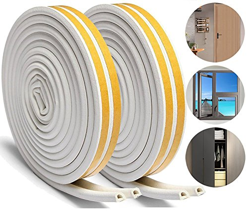 Loobani 448-inches Long Door Window Insulation Soundproofing Weather Stripping Tape, EPDM Rubber Self Foam Adhesive Weatherstrip Draught Excluder, 9mm x 6mm x 4 Seal ( D Type White ) (Window Plastic Insulation)