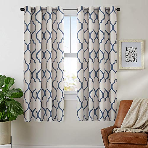 jinchan Moroccan Tile Blue Linen Textured Curtains Blackout Printed Curtain Panels Bedroom Living Room Thermal Insulated Window Treatment 2 Panel Drapes, 63