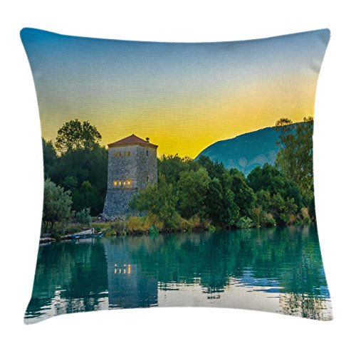 Asian Decor Throw Pillow Cushion Cover by Ambesonne, Venetian Tower Archaeological Site and National Park at Sunrise Lake Landscape, Decorative Square Accent Pillow Case, 20 X 20 Inches, Blue - At Venetian Stores The