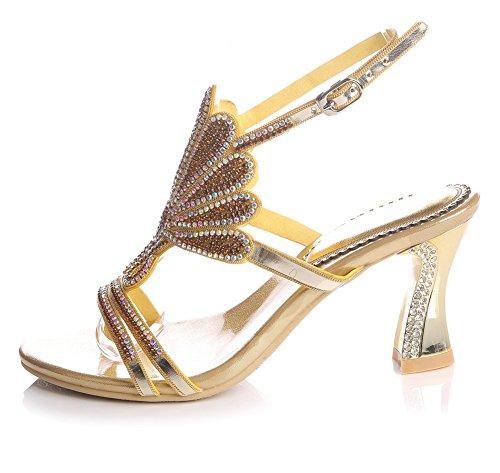Bridal Women's Strappy Party Wedding Mid Sandals Handmade Prom Evening Ladies ZPL Heel Diamante Gold 0q1dwfqg