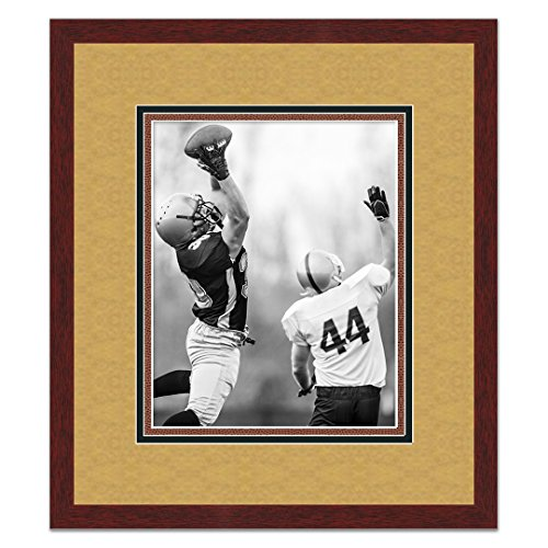 New Orleans Saints Brown Wood Frame for a 11x14 Photo with a Triple Mat - Old Gold, Black, and Football Textured Mats