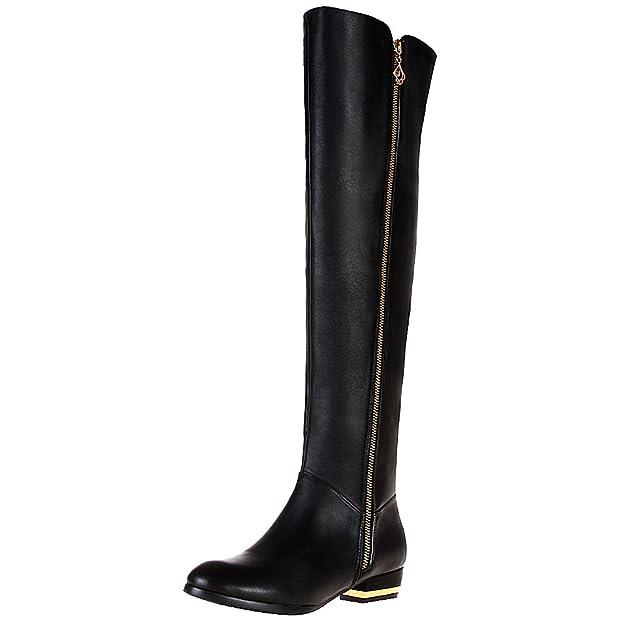7e2827e9feb rismart Mujer Cremallera Moda sobre La Rodilla La Más Alta Calificación  Cuero Botas  Amazon.es  Zapatos y complementos