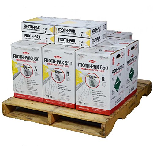 Dow FROTH-PAK 650, 4 Spray Foam Insulation Kits, Class A Fire Rated, Closed Cell Foam, Covers 2600 sq ft ()