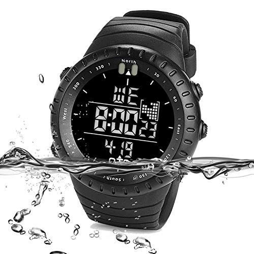 (PALADA Men's All Black Sports Digital Wrist Watch Electronic Quartz Movement Military Time LED Backlight Watches for Men)
