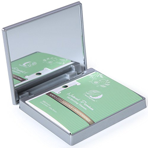 Makeup Mirror with Facial Oil Blotting Paper Sheets - Green Tea 100 Counts, Silver Compact Folding Cosmetic Travel Mirror