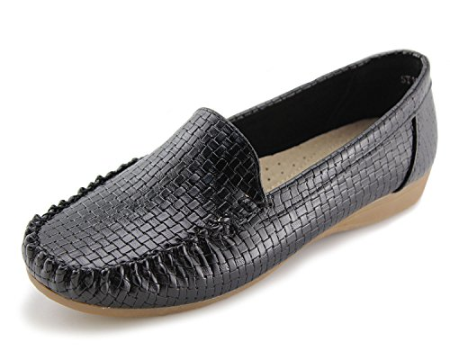 Jabasic Women's Slip-on Loafers Flat Casual Driving Shoes(7, Black)