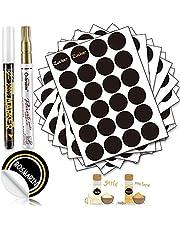 DZSEE®, etiketten, zelfklevend, rond, diameter 4 cm, 288 stuks, zwart, ronde stickers om te beschrijven voor glazen, stickers, labels, zelfklevende etiketten, wisbaar, waterdicht, voor jamglas