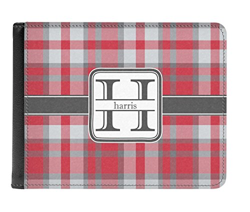 amp; Red Gray Bi fold Wallet Leather Genuine Men's Personalized Plaid pAgwdfAZxq