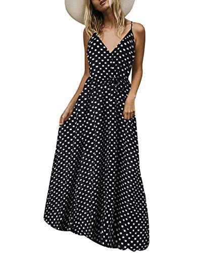 Auxo Women Maxi Dress Sleeveless Sundress Dot Printed V Neck Strappy Long Summer Dresses Cover Up Black S