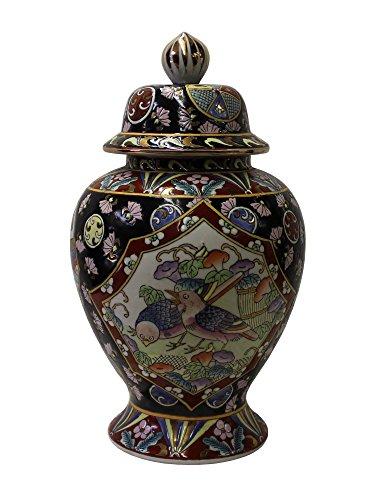 Chinese Oriental Famille Rose Porcelain Black Scenery Round Jar Acs3057