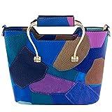 Bagood Women Top Handle Stripes Stitching Handbag Cross Body Bag Multi-color PU Leather Shoulder Bags blue