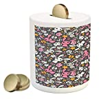 Ambesonne Doodle Piggy Bank, Kawaii Bunnies and Clouds with Cute Heart Eyed Skulls Japanese Anime Design Print, Printed Ceramic Coin Bank Money Box for Cash Saving, Multicolor