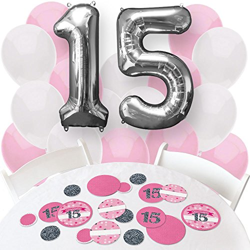 Big Dot of Happiness Quinceanera Pink - Sweet 15 - Confetti and Balloon Birthday Party Decorations - Combo Kit ()