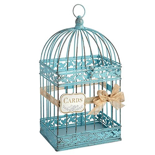 Metal Birdcage Wedding Gift Card Holder with Bow Silver White Teal Wedding Card Box Wedding Decor (Teal) (Card Wedding Box Bird Cage)