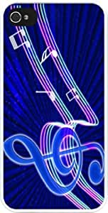 Rikki KnightTM Neon Blues Music Notes Design iPhone 4 & 4s Case Cover (White Rubber with bumper protection) for Apple iPhone 4 & 4s
