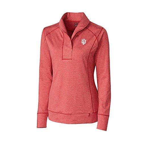 Indiana Womens Hoody Zip Sweatshirt - Cutter & Buck NCAA Indiana Hoosiers Women's Shoreline Half Zip Top, Cardinal Red Heather, Small